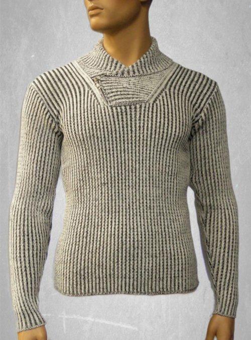 Men's shawl collar jersey. Melange light gray by Vivee Milano Moda Style #VA765/15