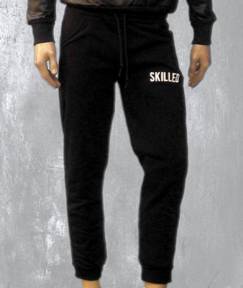 "Men's trousers, black color, with engraved inscription ""skilled"""