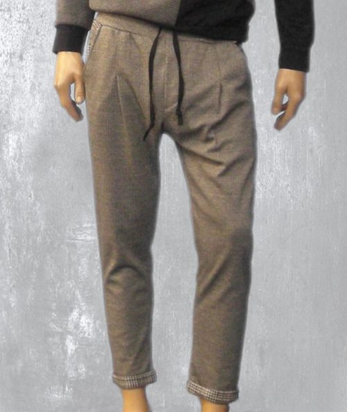 Men's trousers, gray color, with opposite color pockets #1165