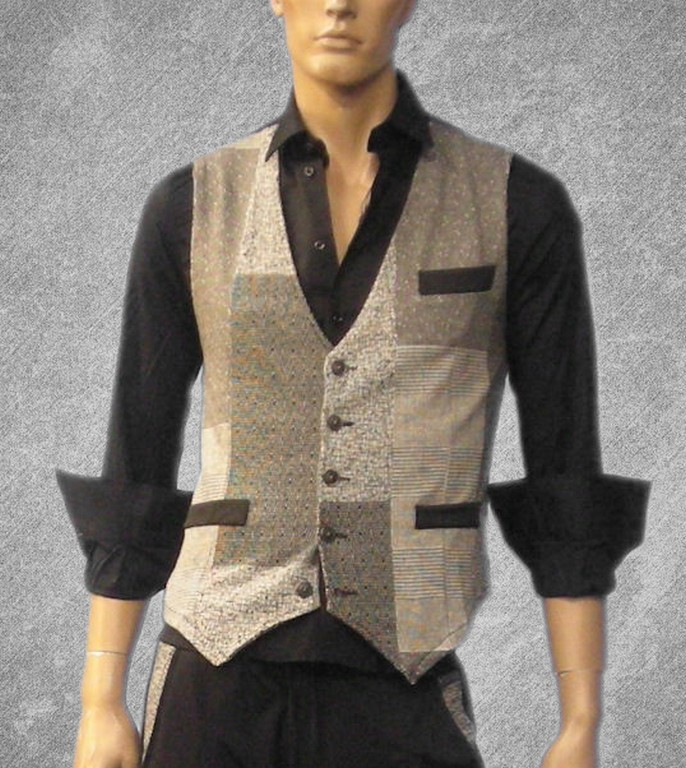 Waistcoat gray color, square drawn [1103]